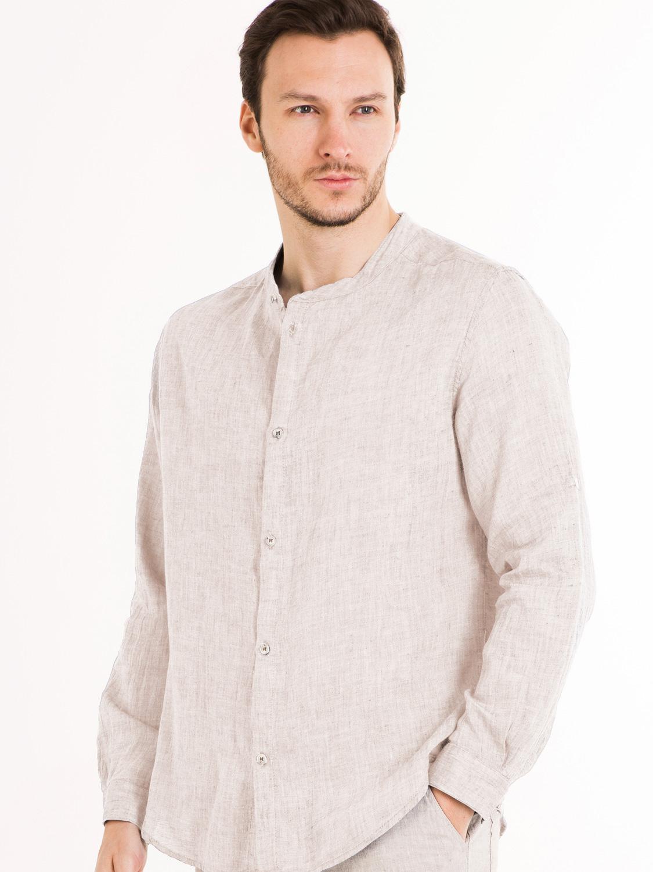3f6b96b2e35 Главная   Мужские льняные рубашки   Мужская льняная рубашка с низкой  стойкой из натурального Ольшанского льна