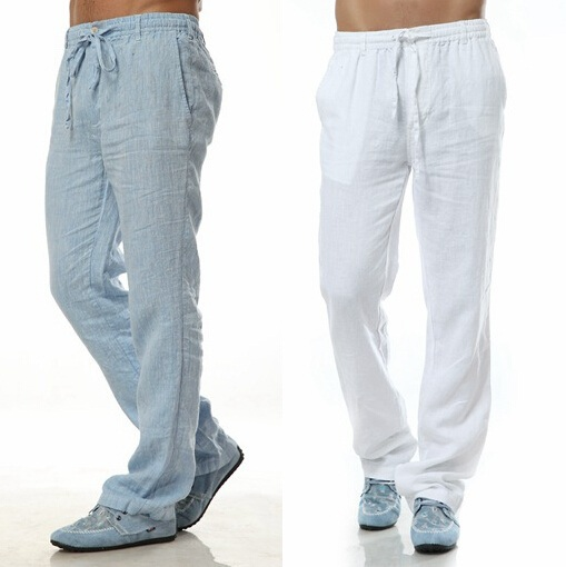 Мужские льняные брюки спортивного стиля