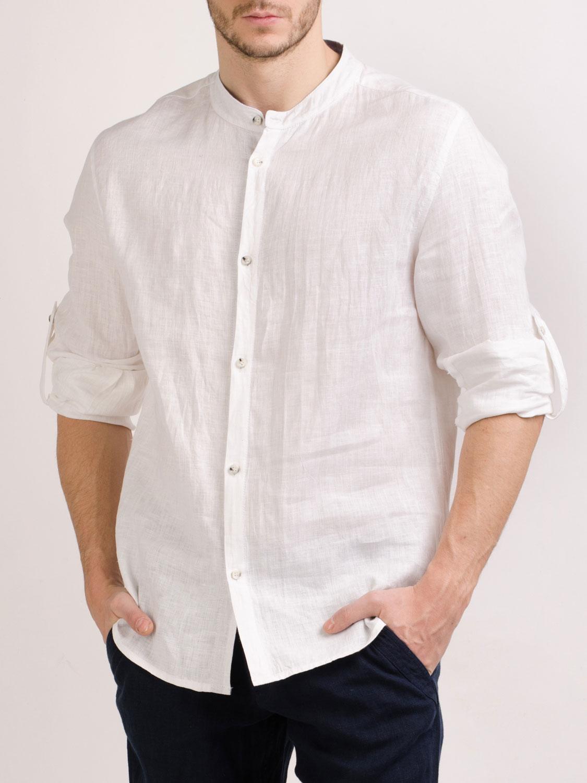 Рубашка льняная с низкой стойкой
