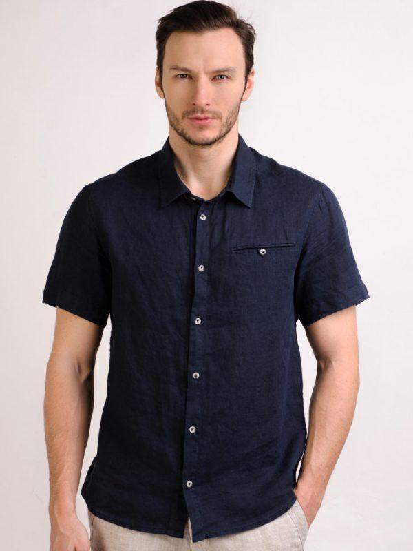 Мужская льняная рубашка с коротким рукавом