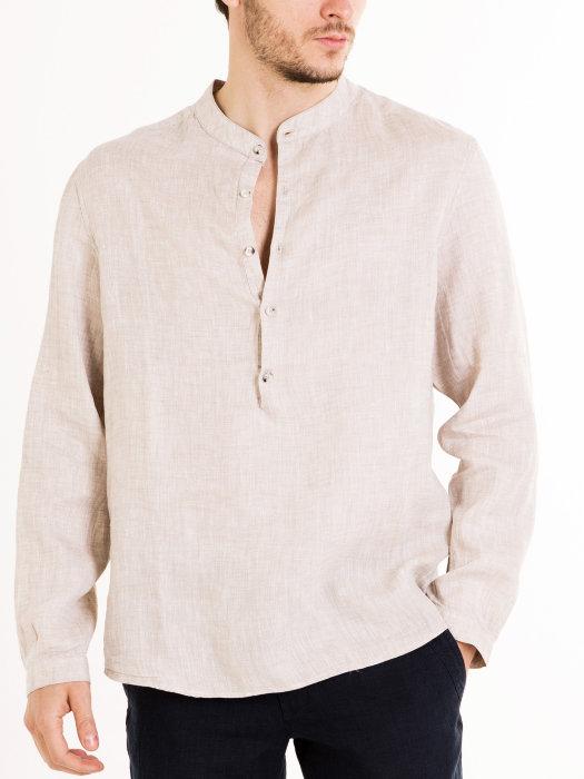Мужская льняная рубашка с пуговицами до середины