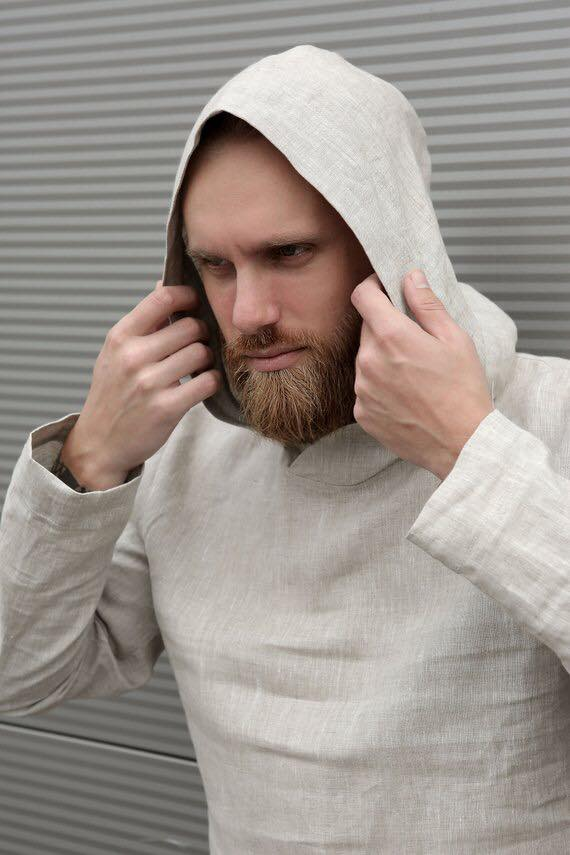 Мужская свободная льняная рубашка с капюшоном