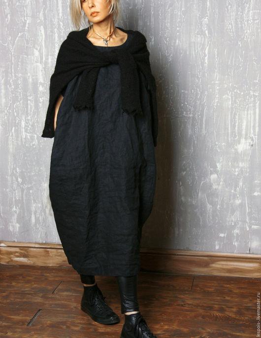 Женское льняное оверсайз платье
