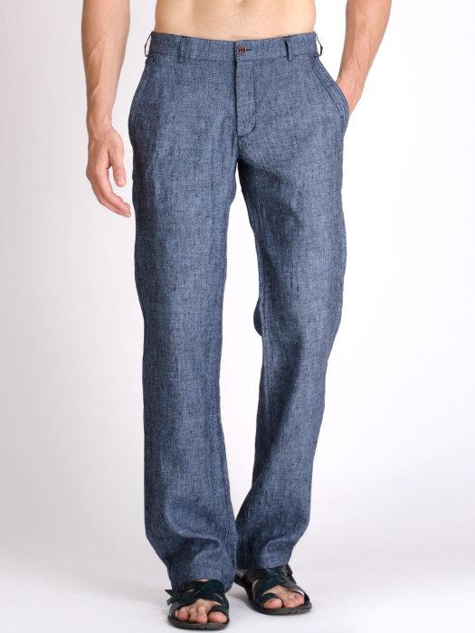 Мужские льняные классические брюки