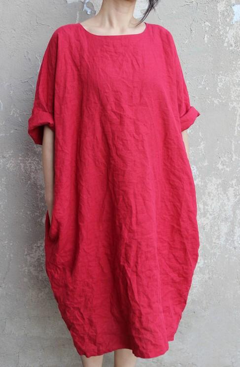 Женское льняное платье-баллон с карманами