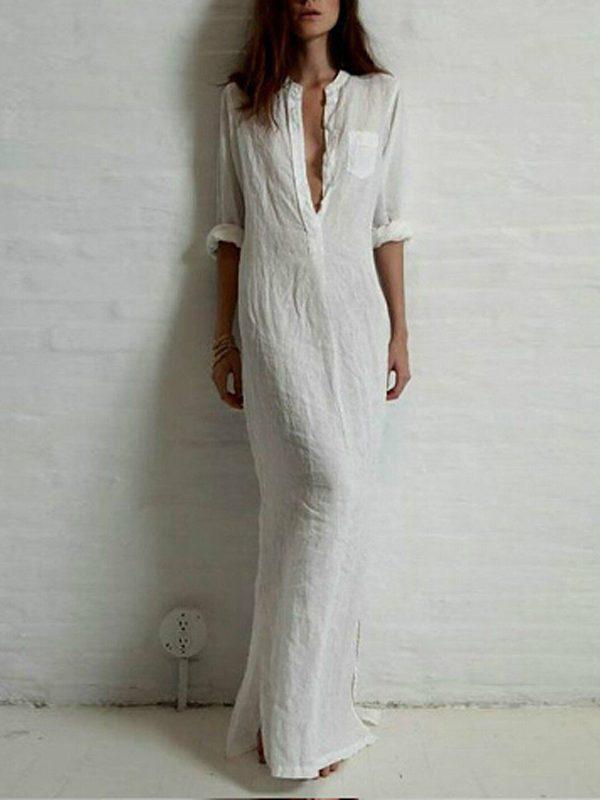 Женское льняное длинное платье