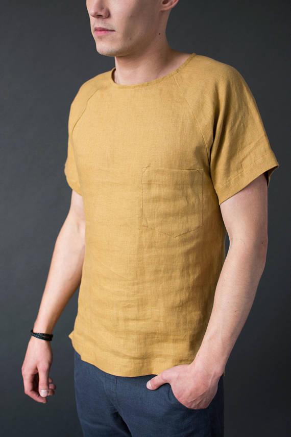 Мужская льняная футболка рубашка - цвет любой