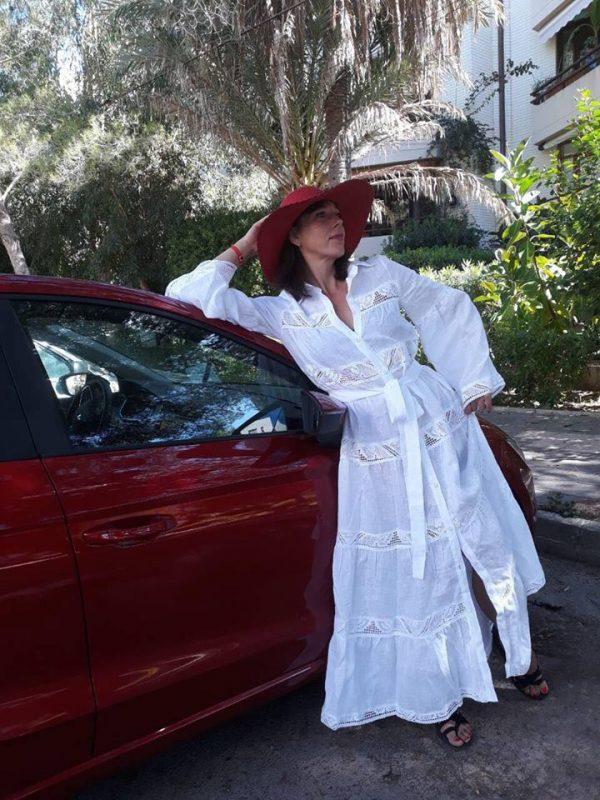 Женское белое льняное платье