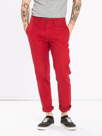 Мужские льняные цветные брюки с подворотами