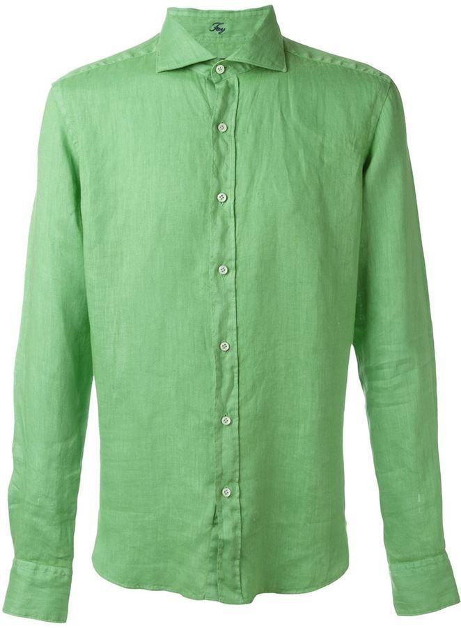 Мужская льняная рубашка слим, приталенный крой.