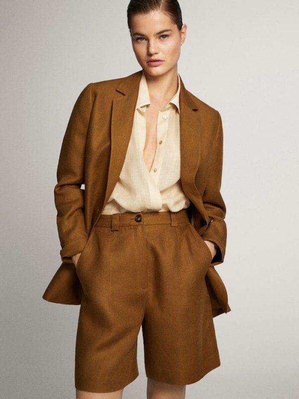 Льняной костюм женский свободного кроя, пиджак и шорты. Размер 42-74+